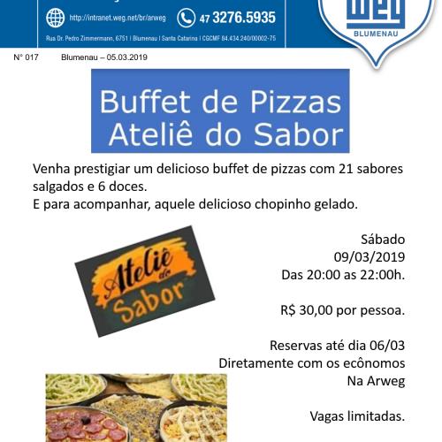 017 Informativo ARWEG - Noite de Buffet de Pizza na ARWEG